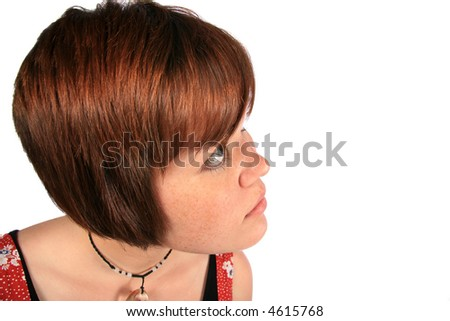 Girl looking to right with copyspace - stock photo
