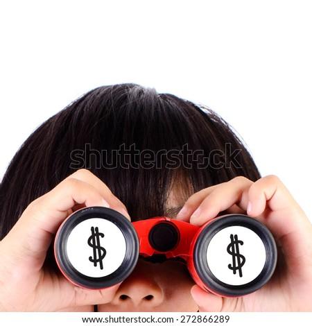 Girl looking US dollar sign with binoculars - stock photo