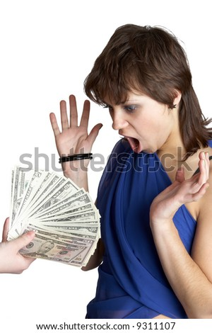 girl looks at a hand with money - stock photo