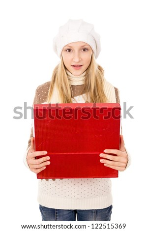 girl looks in a gift box - stock photo