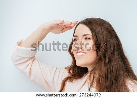 girl looks into the distance - stock photo