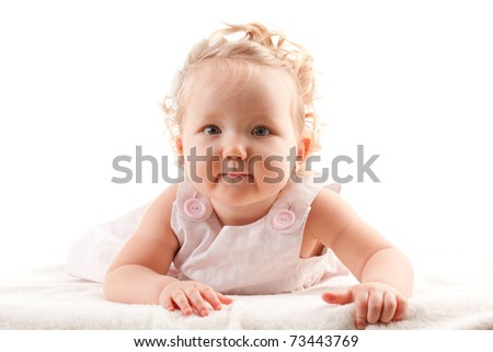 Girl lying on a white background