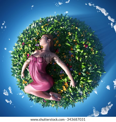 girl lying on the small planet - stock photo
