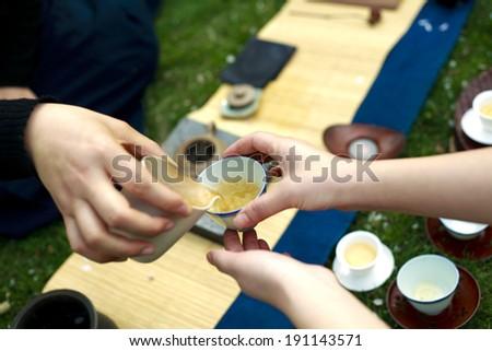 Girl make tea is Chinese Kung Fu Tea - stock photo