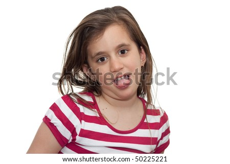 Girl making a silly face isolated on white