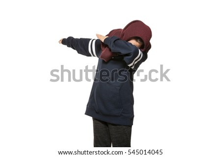 Girl making Dab, portrait in studio, isolated on white background