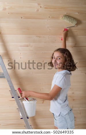 girl making new apartment repair