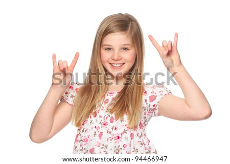 girl making rock-n-roll sign - stock photo