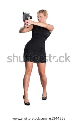 Girl making self portrait with video camera - stock photo