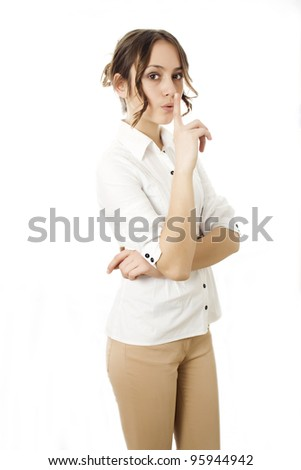 Girl Making Silence Gesture isolated - stock photo