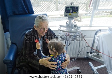 Girl measuring heart beats to here grandfather.