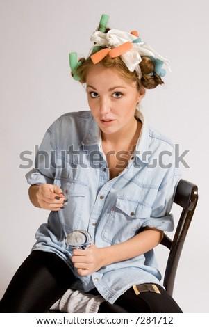 girl mending socks - stock photo