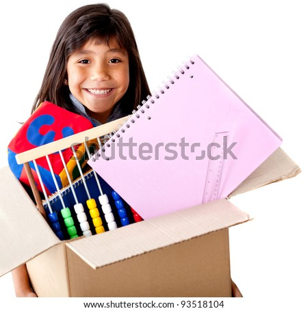 Girl moving house holding a box full of her belongings - isolated - stock photo