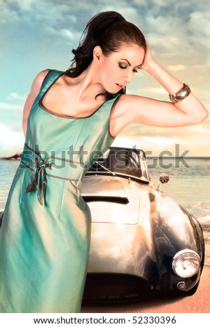 girl near old car - stock photo