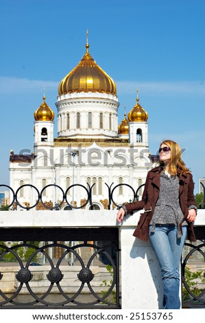 Girl near the Cathedral of Christ the Savior - stock photo