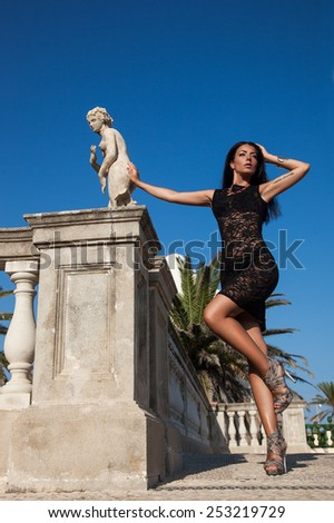 girl near the stairs in Spain - stock photo