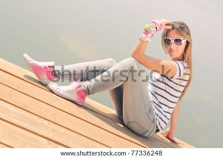 Girl next door - stock photo