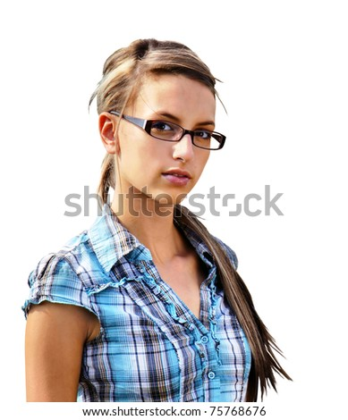 Girl next door, young friendly brunette with glasses in plad shirt looking at camera isolated on white - stock photo