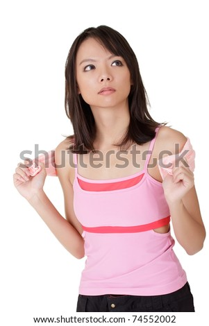 Girl of fitness, closeup portrait of Asian sport woman over white background. - stock photo