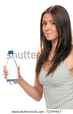 Girl offer and give bottle of pure still drinking water nutrition facts. Female holding in hand sparkling mineral bottled water isolated on a white background. Healthy sport concept - stock photo