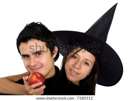 girl offering a bad apple to a guy - isolated over a white background - stock photo