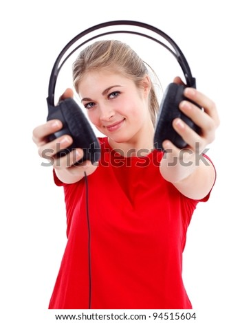 Girl offering headphones to us