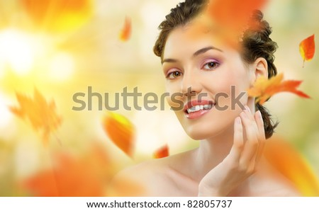 girl on a background of autumn - stock photo