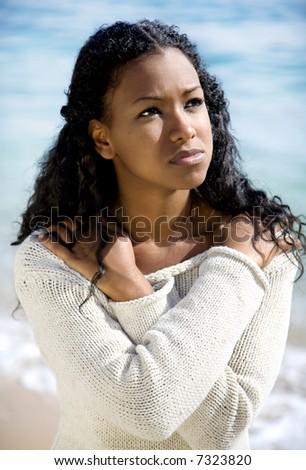 girl on a beach - stock photo
