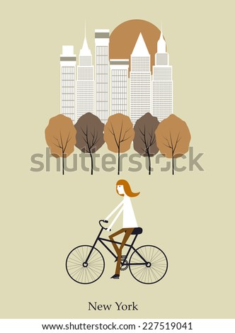 Girl on a bicycle in New York. - stock photo