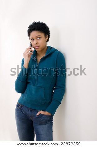 Girl on a cellphone.