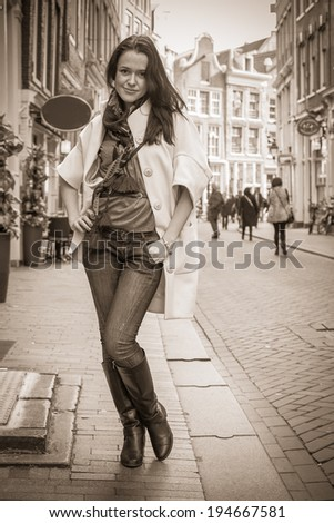 girl on a city street