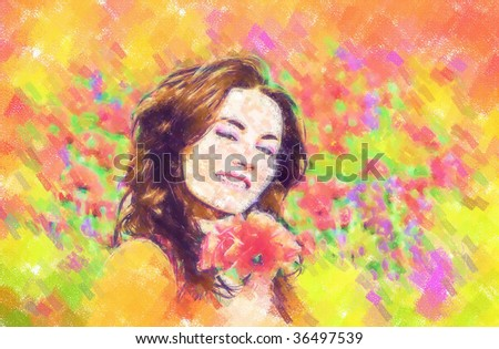 girl on a field with poppies. Draw - stock photo