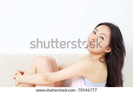 girl on a sofa - stock photo
