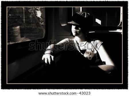 Girl on a train - stock photo