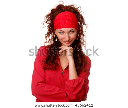 Girl on a white background. - stock photo