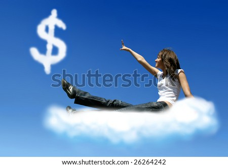 girl on cloud is trying to get a dollar