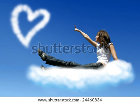 girl on cloud is trying to get a heart