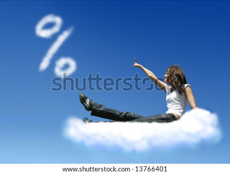girl on cloud is trying to get a percent