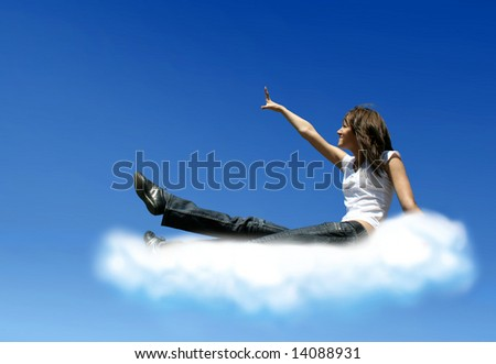 girl on cloud is trying to get a something