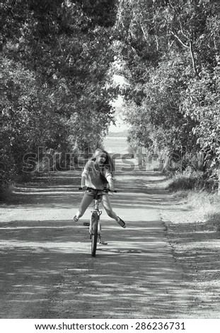 Girl on cycling