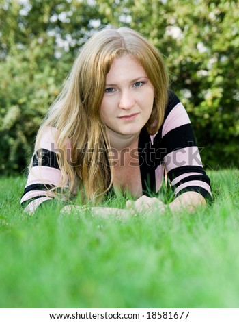 girl on grass - stock photo