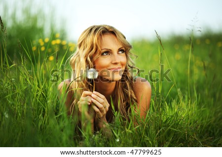 girl on green field - stock photo