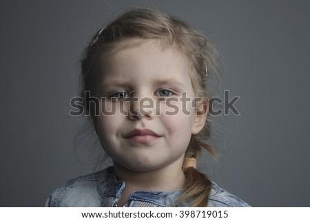 girl on grey background - stock photo