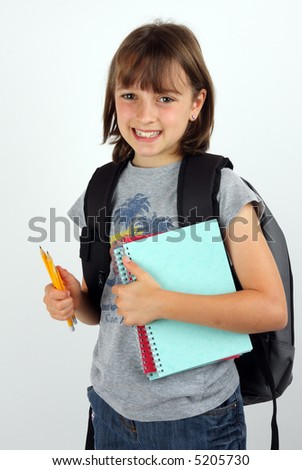 Girl on her way to school against a white background