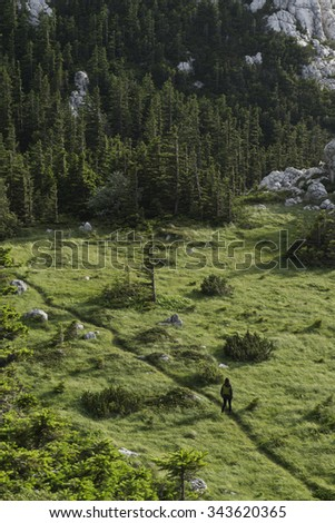 Girl on hiking trail, Velebit mountain