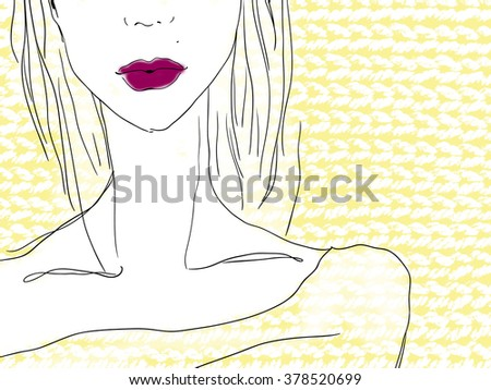 girl on knitted background. fashion illustration