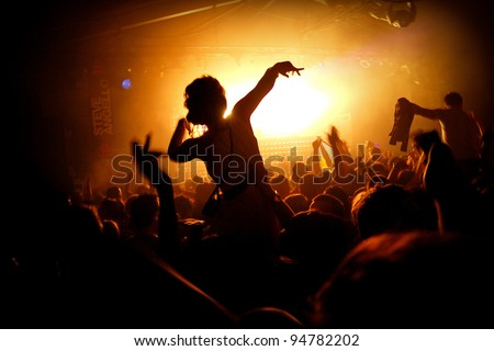 Girl On Shoulders Silhouette - Cream Nightclub - stock photo