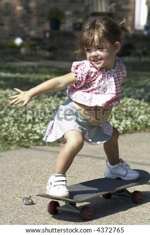 girl on skateboard - stock photo