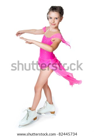 girl on skates isolated on a white background