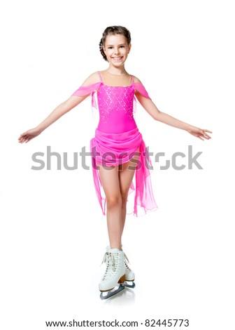 girl on skates isolated on a white background - stock photo